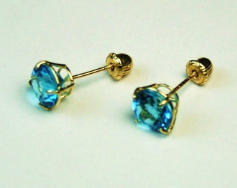 14K solid yellow gold natural AA 7mm London blue Topaz stud screw back earrings