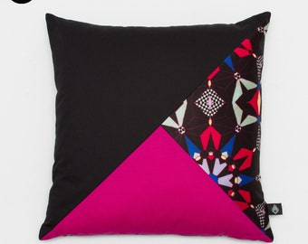 Patchwork cushion square 40 x 40 cm pattern Kalei manufactured in France and hand
