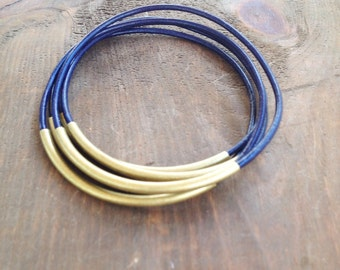 Navy Leather Bangle Bracelet, Leather Bangles, Bangle Bracelets, Bangles, Boho Bracelets