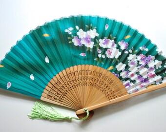 Silk Green Sakura Hand Fan with sleeve -Handheld Folding Fan, Japanese Hand Fan,folding fan,Cherry blossom