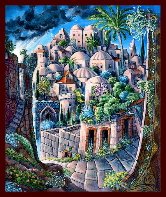 Jerusalem oil canvas by rabbi yitzchak besancon oil canvas for Israeli artists oil paintings