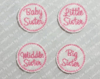 Baby, Little, Middle & Big Sister AMC Felties (set of 4) UN-CUT