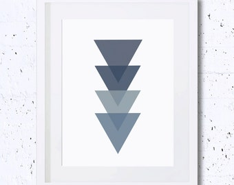 Monochrome Art, Triangle, Blue, Geometry, Triangle's Silhouette, Abstract, Art Print, Printable Art, Downloadable Print, Home Decor, Navy