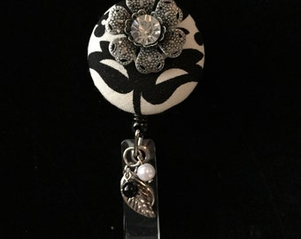 Damask Metal Daisy -Nurse Retractable ID Badge Reel/ RN Badge Holder/Doctor Badge Reel/Nurse Badge Holder/Student Nurse badge reel/ nursing