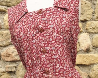 1960s Dark pink red House dress Large