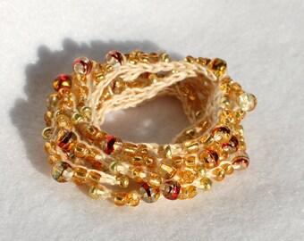 Crochet Bracelet Wrap Bracelet Bohemian Bracelet Beaded Bracelet Boho Bracelet Summer Jewelry Bracelet for Her Gift Ideas Handmade Jewelry
