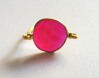 Fuchsia agate ring,18kt Goldplated silver ring, Fuchsia ring, Gemstone ring