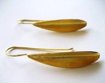 OLIVELEAF, Gold olive leaf, Silver 925 earrings, Goldplated silver earrings ,solid silver 925
