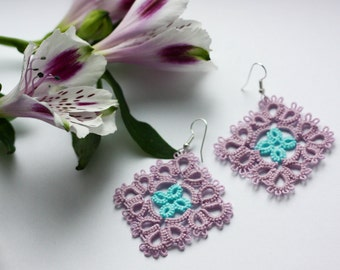 Lace earrings, multicolor (pink/blue) earrings, tatting earrings, handmade earrings, handmade jewelry, multicolor jewelry, tatted
