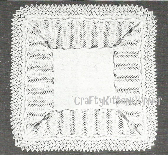 Knitting Patterns For Christening Shawls : Vintage Traditional Baby Square Shawl Christening Shawl