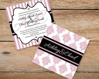 "6"" x 6"" Pink and Black Damask & Striped Wedding Invitations"
