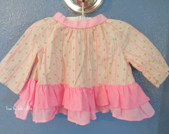 Vintage, Baby Shirt, Baby Blouse, Girl Shirt, Girl Blouse, Girl Clothes, Baby Clothes, Baby Girl, Pink, Flowers, Retro, 1960's, 60's