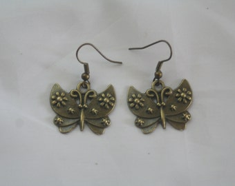 butterfly dangle earrings-butterfly jewelry-butterfly earrings