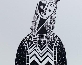 Pocahontas, Limited Edition Linocut Print