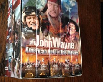 5 Boxed VHS Set of Classic John Wayne Movies Complete Set.