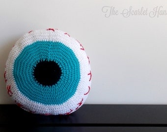 Eyeball Crochet Cushion. Handmade Decorative Pillow. Anatomy Decoration. Made to Order.
