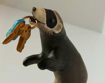 OOAK Handmade Polymer Clay Ferret Bandit Figurine