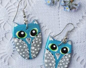 Earrings light blue owl