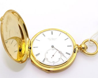 Antique Jules Jurgensen Solid 18k Yellow Gold Hunting Case Key Wind Pocket Watch
