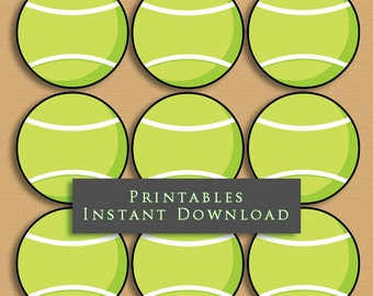"""2.5"""" Green Tennis Ball Printable Cupcake Toppers Sports Theme Birthday Party DIY Printable INSTANT DOWNLOAD"""