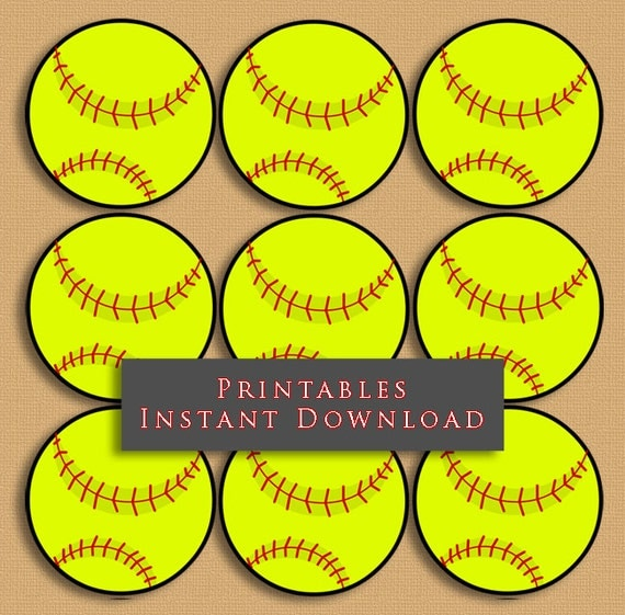 "2.5"" Softball Printable Cupcake Toppers Sports Theme ..."