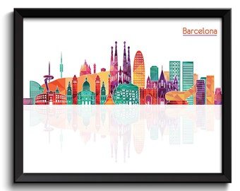 Barcelona Skyline City Colorful Cityscape Poster Print Spain Europe Modern Abstract Landscape Art Painting Green Blue Teal Pink Purple Peach