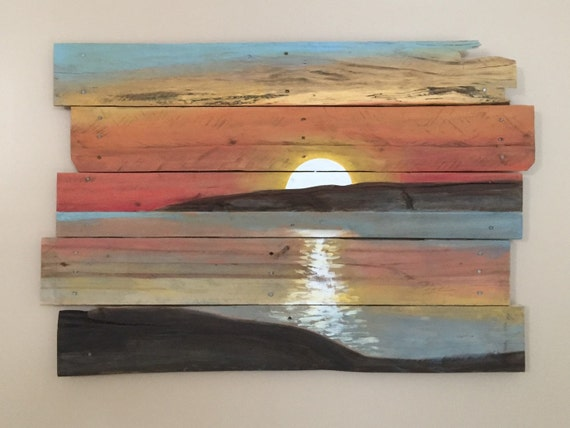 Sunset on reclaimed pallet wood Reclaimed wood wall art for sale
