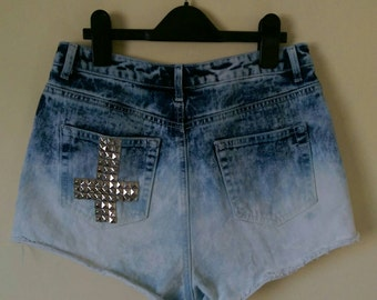 Ombre anti-christ denim shorts