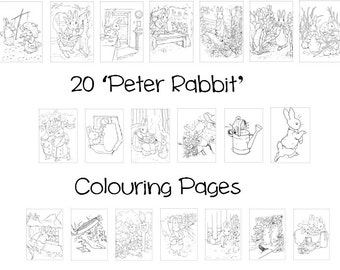 PETER RABBIT -  Colouring Book Pack - 20 x A4 Sheets ! Original Beatrix Potter Designs. (Rainy Day/ Holiday Craft for Children)