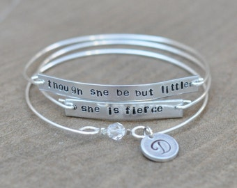 Though she be but little, she is fierce - set of 3 personalized bangles with a swarovski crystal and an initial disk charm