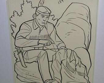 Vintage Whitman Lone Ranger Original Art - Tonto Sewing