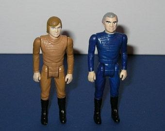 Vintage Battlestar Galactica custom painted Starbuck and Commander Adama Figures