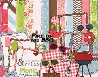 "Picnic Digital Scrapbook Kit - ""Summer Lovin"" digital scrapbook kit with BBQ, picnic basket, freeze pops for making summer scrapbook layouts"