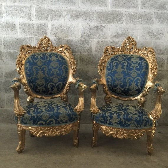 Antique italian rococo throne chairs by sittinprettybymyleen for Antique baroque furniture