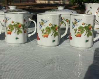 Hand painted mugs, by Lenwile Ardalt, with butterflies,  strawberries,  and ladybugs!