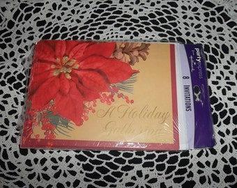 """Vintage """"Holiday Gathering""""  invitations, package of 8 with envelopes"""