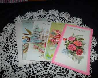 Vintage Birthday Greeting Cards, 4 different cards