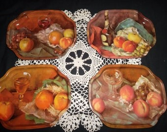Vintage Set of Metal Serving Trays-Fruit and Wine Design, Elite Trays Made in England
