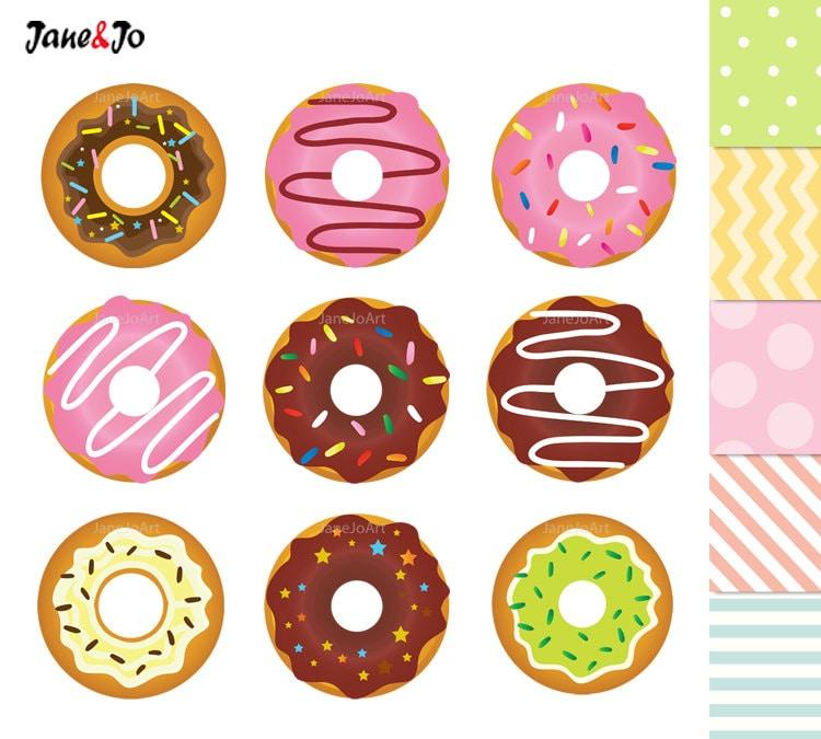 50% OFF SALE Donuts Clipart , Donuts Digital Clip Art