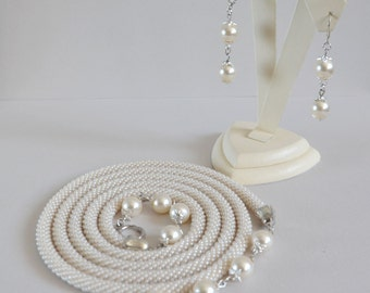 Bead crochet necklace and earrings, Lariat, Bead crochet necklace, Bead crochet rope, Bead jewelry, Handmade jewelry - The pearl