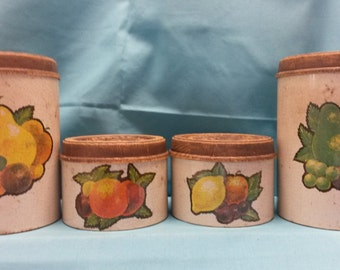 50% off!! Vintage Tin Cheinco Canister Set with Faux Wood Tops