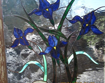"""Stained glass window,Vintage Frame, Hand Drawn, """"One of a Kind"""",  **SOLD** 24"""" wide x28"""" tall, Art glass, Custom window"""