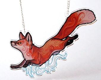 Clear Acrylic Fox Fire Necklace