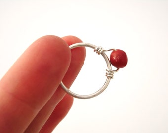 Ring, silver, coral, wire wrapping, 5% donation