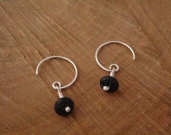Hoop earrings, silver, lava, 5% donation