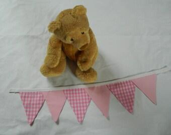 Pink and pink gingham nursery/bedroom tie-backs, handmade