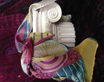 Silk shawl handpainted / Luxury painted silk