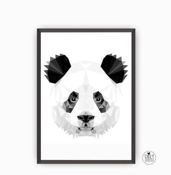 Printable Panda Art Poster Zwart Wit Grijs Illustratie