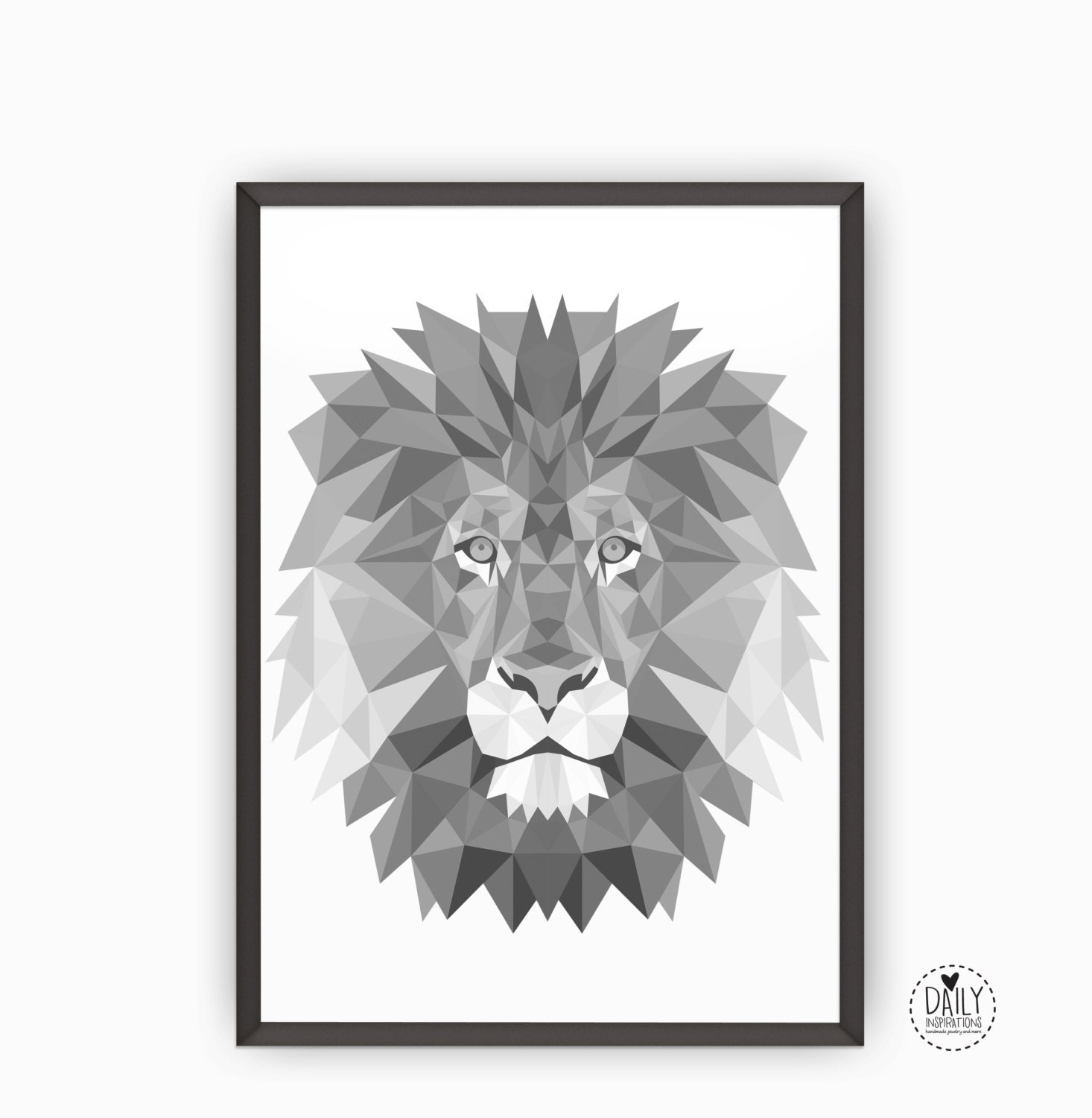 imprimable lion art poster noir blanc gris g om trique. Black Bedroom Furniture Sets. Home Design Ideas