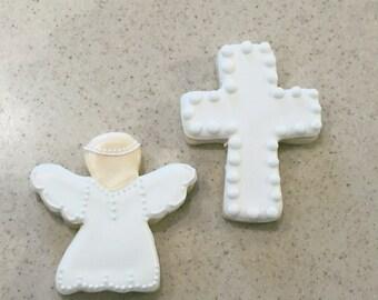 Cross and Angel Sugar Cookies- One Dozen